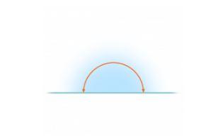 straight angle with shadow and arrow