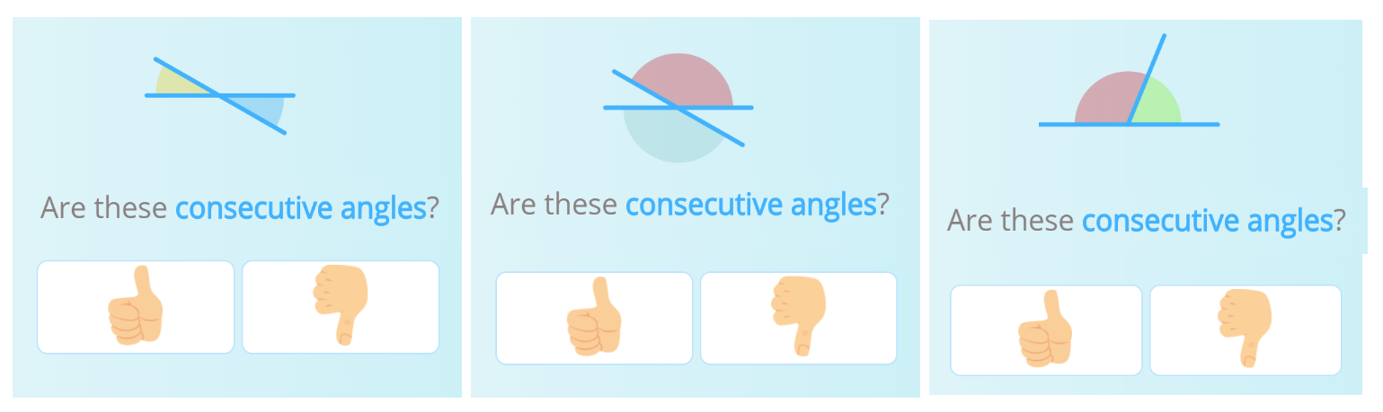 An image showing three cases where consecutive angles need to be identified.