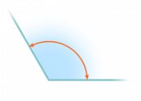 An obtuse angle measuring 120 degrees.