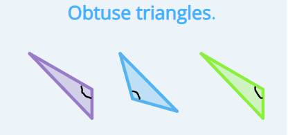 Examples of obtuse triangles.
